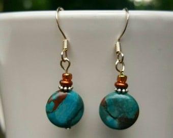 Turquoise earrings Small dangle earrings turquoise earrings small turquoise earrings
