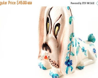 Vintage Droopy Dog Statue Psychedelic Handpainted Floral Crackle Design Retro Garden 1970s