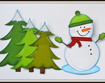 CraftECafe Paper Piecing Tree Accents for Premade Scrapbook Layout Page Snowman