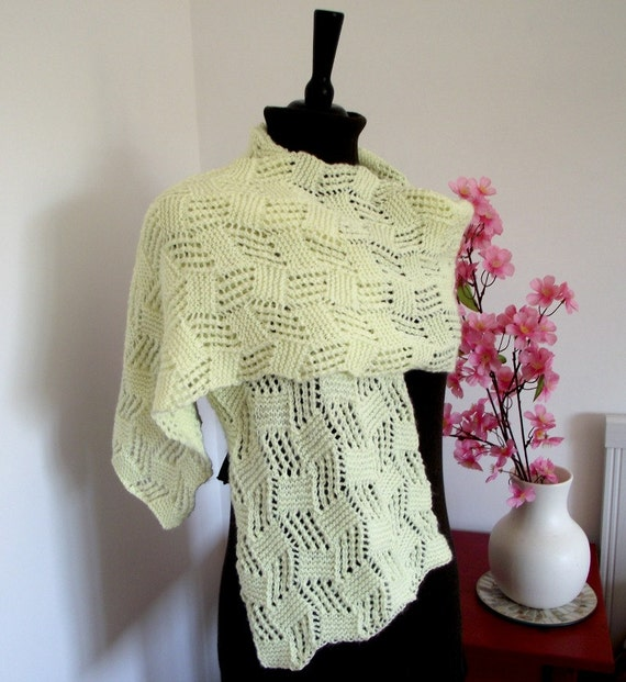 Cables Knitting Patterns : KNITTING PATTERN SHAWL scarf shawlette Cool by LiliaCraftParty