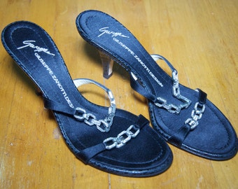 Authentic Giuseppe Zanotti  Leather And Satin Jeweled Mules