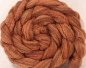 Natural Hand dyed bfl / silk top for spinning  - Madder - (4.5 oz.) Mixed Bluefaced Leicester/tussah silk (75/25)