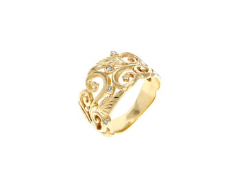 Leaves and filigreeing diamond 14k gold ring