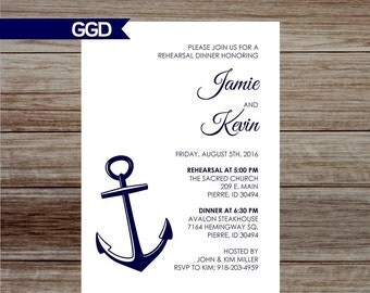 Nautical Rehearsal Dinner Invitation, rehearsal and dinner invite, wedding rehearsal dinner invitation