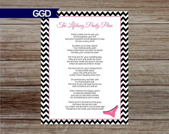 INSTANT DOWNLOAD Chevron Lifelong Panty Poem DIY Printable for Bachelorette Party, Bachelorette Party Games, panty invite