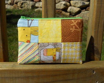 Zipper Pouch, Giraffe Pouch, Yellow and Brown Pouch, 6-Panel Series, One of a Kind