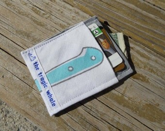 Card Sleeve, Minimalist Wallet, Knife Wallet, Gray and White Wallet, One of a Kind