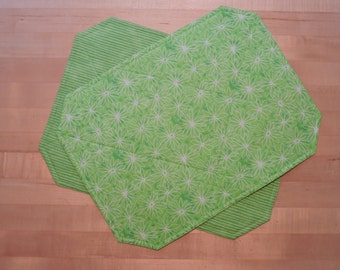 Place mats - six green floral and stripe reversible