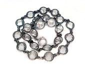 Fancy Art Deco Crystal Sterling Silver Bezel Set Riviere Necklace