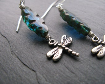 STERLING SILVER Dragonflies, Czech Glass, Spindle, Table Cut, Aqua, Teal blue, Picasso, Damselflies, Wire Wrapped Dragonfly Dangle Earrings