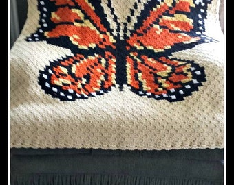 C2C Graph, 5 Color Butterfly Afghan C2C Graph with Written Word Chart