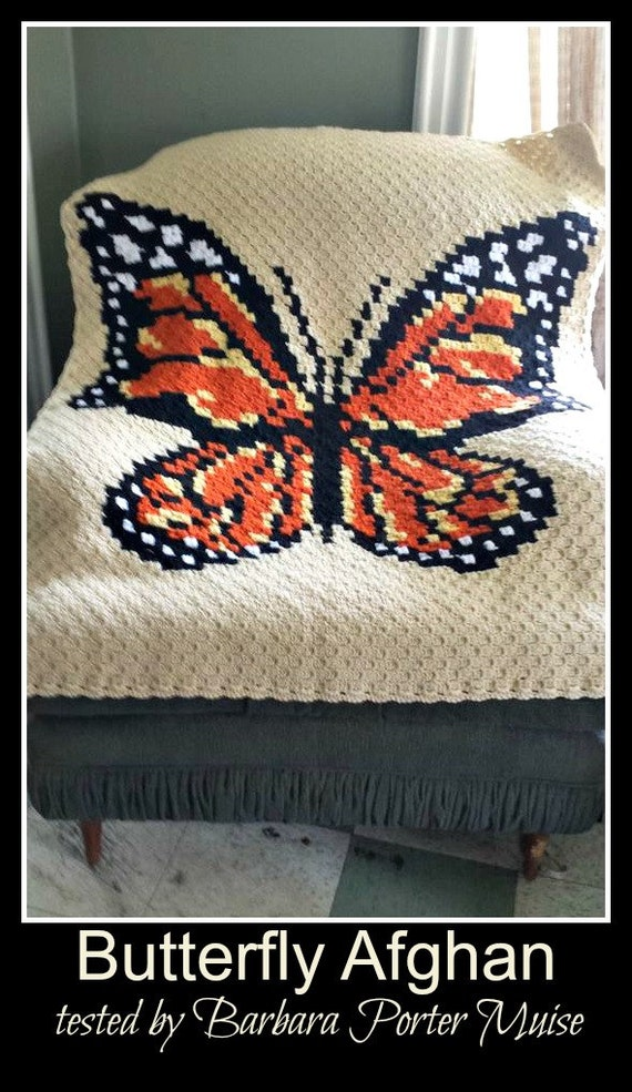 c2c graph 5 color butterfly afghan c2c graph with written