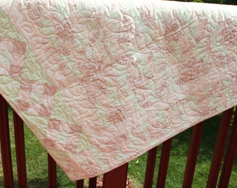 Lap Quilt- Cottage Cream- Pastel Green, taupe and Cream- Handmade quilt