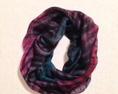 Hand Painted Silk Scarf Shibori in Purple,Dark Blue and Black shades#5