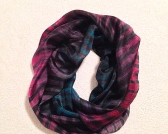 Hand Painted Silk Scarf Shibori in Purple,Dark Blue and Black shades#5