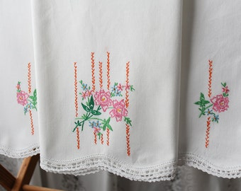 Pair of Embroidered Floral Pillow Cases