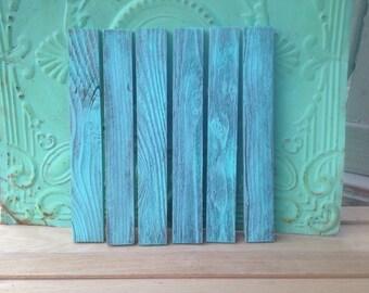 Set of Six Sweet Mint Washed Barn Wood Boards, Reclaimed Wood Slats, Wood Crafting Supplies Barn Wood