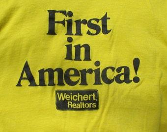 Vintage 1980s Weichert Realty Tee Shirt Yellow Cotton Real Estate Shirt