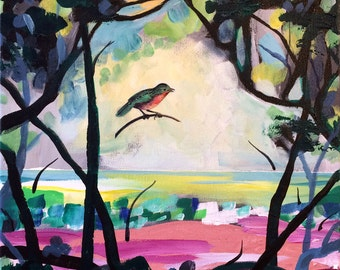 """Original Abstract Painting, Expressionistic Painting, 12"""" x 12"""", Collage, Bird, Rainforest, Acrylic Painting, """"Rainforest Warbler"""""""