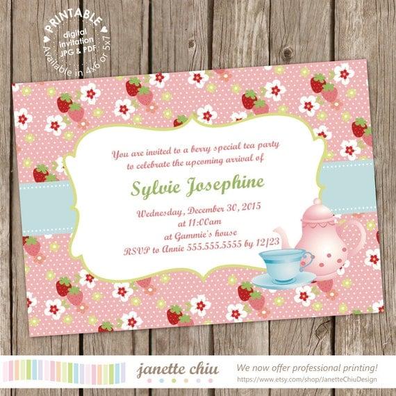 Strawberry Tea Party Bridal Shower/ Baby Shower Invitation Digital Printable, ANY wording