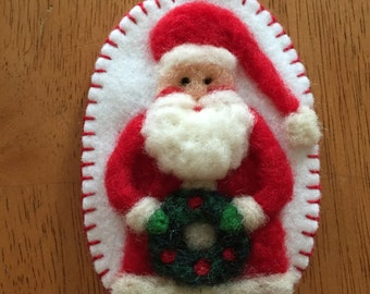 Needle Felted Santa With Red Hat Christmas Ornament Done On Wool Felt