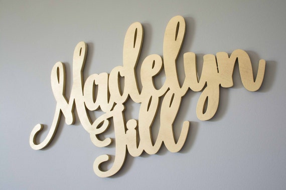 Baby Name Sign, First and Middle Names, Calligraphy Wood Sign, Baby Girl Nursery Decor, Gold Nursery