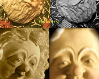 YOUR CHOICE - Rigid Polymer Clay Doll Face Cab Push Press Mold of Santa or Wizard, Mrs. Claus or Female Character