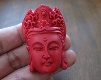 NEW ARRIVAL Large pendant,  Cinnabar Buddha  beads , Buddha,  Side drill, Cinnabar, Jewelry making supplies S7265