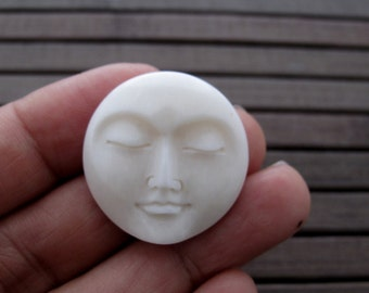 SPECIAL SALE Gorgeous hand carved  Moon face  cabochon,   buffalo Bone Carving, Embellishment, Cabochon for setting S6760