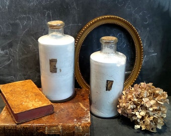 2 Vintage Large Apothecary Jars .Pharmacy old jars.Antique Glass jars Bottles perfect for cabinet of curiosities