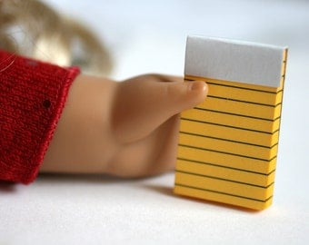 18 Inch Doll Legal Pad Note Pad, Miniature Note Pad, Tiny Yellow Note Pad