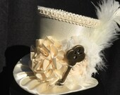 Ivory Satin Mad Hatter Mini Top Hat for Dress Up, Birthday, Tea Party or Photo Prop