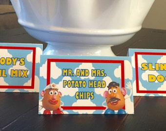 TOY STORY Inspired Happy Birthday or Baby Shower Food Labels Table Tents Buffet Cards Signs {Set of 8}- Party Packs Available