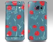 RED FLORAL Galaxy Decal Galaxy Skin Galaxy Cover Galaxy S6 Skin, Galaxy S6 Edge Decal Galaxy Note Skin Galaxy Note Decal Cover Samsung