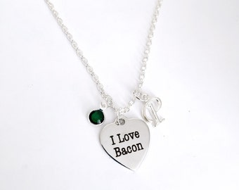 Personalized I Love Bacon Necklace