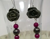 Freyja's Flowers Earrings - Carved Iron Pyrite Roses with Pink Pyrite and Ruby Jade - Freya, Vanir, Vanadis, seidhr