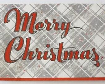 Vintage 1950s CHRISTMAS CARD - Glitter Greeting on Plaid Design (Unused w/ Envelope)