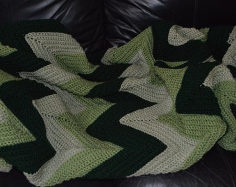 Large Crocheted Ripple Afghan in Green Tones