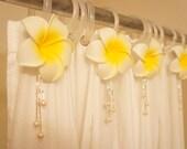 Sale!Hawaiian Theme Shower Curtain Decor 4 Set for Hooks,White Plumeria Flower w/ Fresh Water Pearl,Beach Theme (Fit all rings) Bathroom