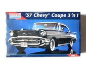 Monogram 57 Chevy Coupe 3 in 1 Vintage Model Kit 1/12 Scale Sealed Box Gift for Him Father's Day Collectible