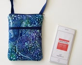 Batik Blues, Cross Body Purse, Cell Phone Bag, Small Purse, iPhone Case, Extra Long Strap, Hipster