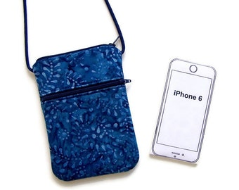 Small Purse, Cell Phone Purse, Crossbody Hipster, Blue on Blue Batik