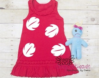 Hawaiian Girl Costume, 6m-6x, Doll included, Scrump, Red Hawaiian Dress, Hawaiian Cosplay
