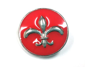 1 PC 18MM Limited Edition Red Enamel Fleur De Lis Silver Candy Snap Charm CC1195