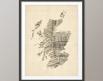 Scotland Map, Scotland Old Sheet Music Map, Art Print (2304)