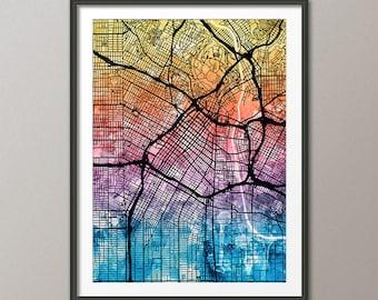 Los Angeles Map, Downtown Los Angeles California City Street Map, Art Print (2341)
