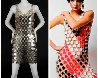 Vintage PACO RABANNE Gold Rhodoid Disc Do It Yourself Dress