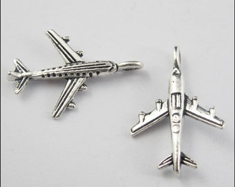 Airplane  Charm 8 3D Jet Plane Charms Antique Silver Tone - ts1076