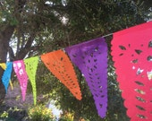 Colored 2 Hand Cut Papel Picado Pennant Banners - 2 Pack