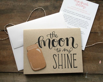 Hand Lettered Moonshine Love Card